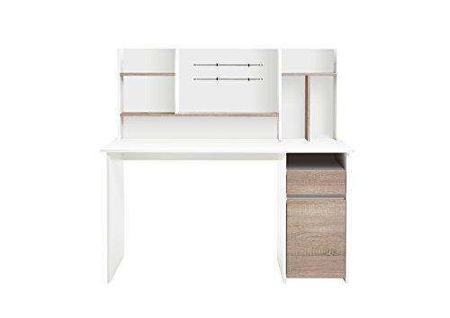 FMD Möbel Schreibtisch, 135x 54,5x 129,5H cm, weiß, Eiche, foliert, 11x 61.5x 149.9cm