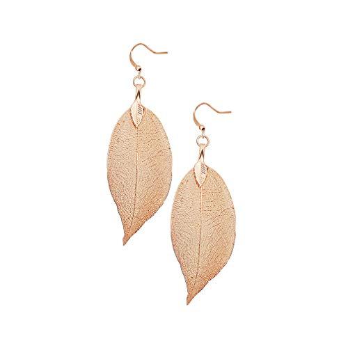 Gleamart Delicados pendientes de gota de hoja de filigrana ligeros chapados en metal hojas pendientes largos colgantes