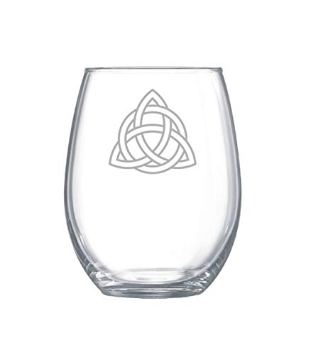 Stemless Wine Glasses 11oz, Celtic Trinity Knot Glassware, Triquetra Wine Glasses, Holy Trinity Glassware, Irish Glassware Christmas Present, Birthday Gifts For Men and Woman