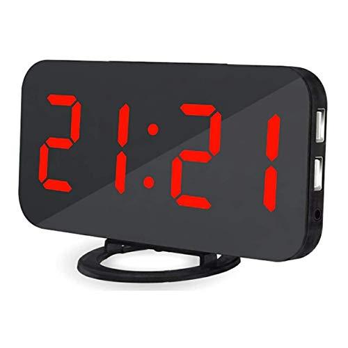 YXDS Reloj Despertador con Espejo LED, Reloj de Mesa con repetición Digital, luz de Despertador, Pantalla electrónica de Gran Tiempo, Reloj de decoración del hogar