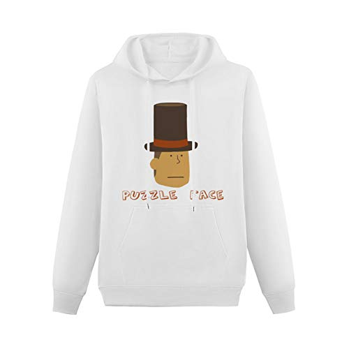 Professor Layton Puzzle Face For Creatives Hoodie Printed Sweater For Man White L