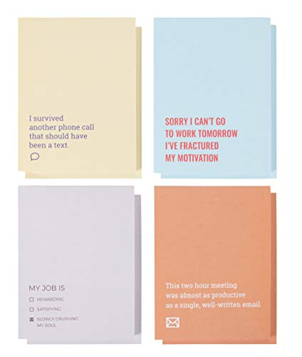 Grappig, Sarcastisch werk Thema Kladblokken (8-Pack) - 4 Citaten, 2 van elk, 50 bladen elk, 4,25 x 5,5 inch