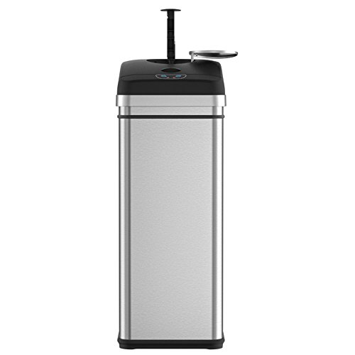 iTouchless Squeeze Trash Compactor Garbage Can with Sensor Lid, Battery-Free Operation to Compact Waste from 13 to 20 gallon Capacity, Stainless Steel