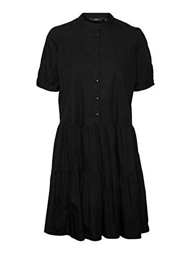 VERO MODA Damen VMDELTA 2/4 ABK Dress WVN DA GA KI 10233013, Black, XL