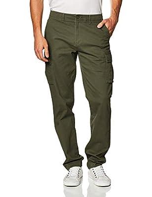 Amazon Essentials Men's Straight-fit Stretch Cargo Pant, Olive, 34W x 32L