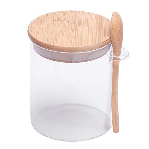 BESTONZON - Tarro para condimentos de cristal con tapa de madera y cuchara para guardar alimentos, para cocina, té, café, sal de azúcar