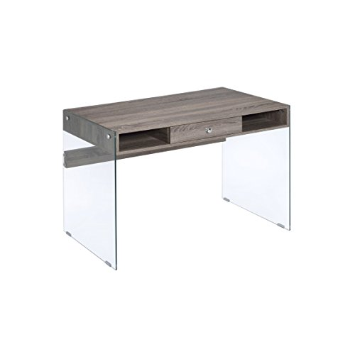 ACME Armon Desk – 92372 – Gray Oak & Clear Glass