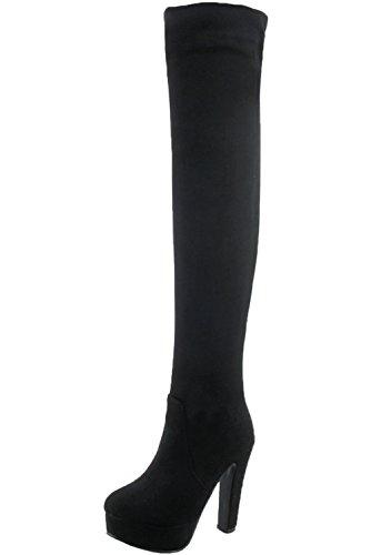 BIGTREE Overknee Stiefel Damen High Heel Kunstleder Casual Blockabsatz Herbst Winter Plateau über Knie Stiefel von Schwarz Kunstleder 37 EU