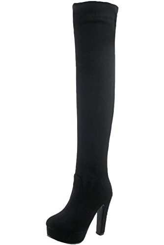 Unbekannt Overknee Stiefel Damen High Heel Kunstleder Casual Blockabsatz Herbst Winter Plateau über Knie Stiefel von Bigtree Schwarz Kunstleder 42 EU