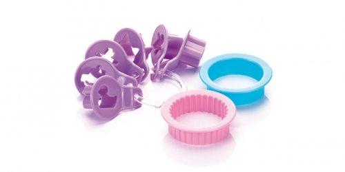 Tescoma Delícia Lot de 8 emporte-pièces en Plastique pour sablés, pour Enfants, Violet/Rose/Bleu Ciel