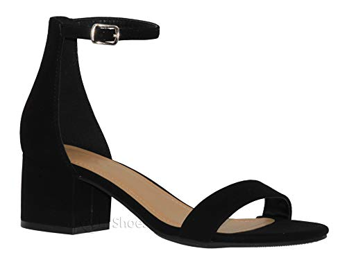 MVE Shoes Chunky Block Heel Dress Sandal Over Toe & Ankle Wrap Strap, Black NB 7