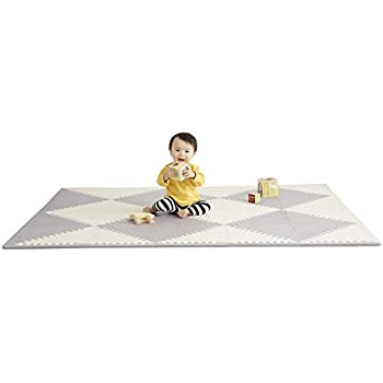 "Skip Hop Foam Baby Play Mat: Playspot Interlocking Foam Floor Tiles, 70"" x 56"", Grey/Cream"