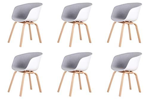 Un conjunto de cómodas sillas de negociación, sillones y sillas de comedor en estilo nórdico, con cojín de esponja y reposabrazos. (gris claro, 6)