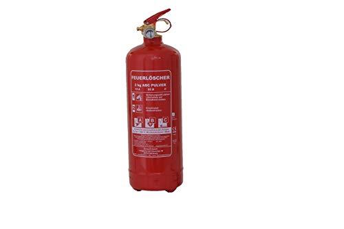 Orig. ANDRIS® 2kg ABC Marken-Feuerlöscher Pulver für Auto/LKW, mit KFZ-Drahthalter EN3 inkl. ANDRIS® Prüfnachweis mit Jahresmarke