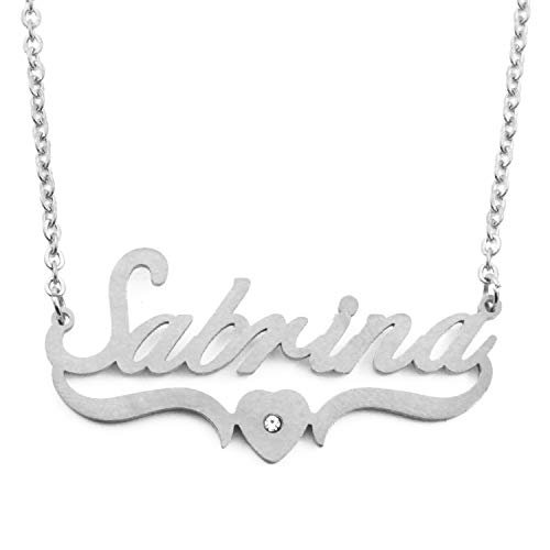 Kigu Sabrina Personalized Heart Shaped Name Necklace Adjustable Chain - Silver Tone Packaging