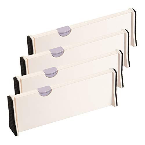 ARyee 4 divisores de cajones, organizadores de cajones expandibles para oficina, cocina, cajón, baño, dormitorio y...