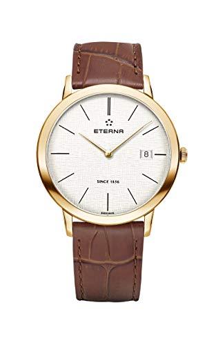 Eterna Eternity Gent Quartz Uhr, 40mm, Silber, PVD und Rose Gold, Lederband