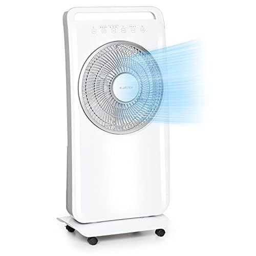 """Klarstein Wildwater 2-in-1-Standventilator, Ventilator & Luftbefeuchter, 3690 m³/h Luftdurchsatz, autom. Rotation, Ultraschall-Luftbefeuchter: 1100 ml/h, 11\"""" Rotor, 3 Modi: normal, natural, weiß"""