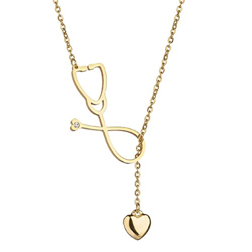 Stethoscope Necklace Stainless Steel Pendant with Heart for Doctor Medical Student Gift the Doctor Nurse Jewelry (Gold)