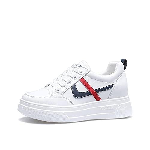 ZZLHHD Hebilla Punta Abierta Sandalias Mujer Plataforma Comoda,Increases Leather Shoes, Leisure Sports Small White Shoes-White Blue_36,B1