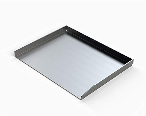 MaTaDa Edelstahl Grillplatte massiv I BBQ Plancha 45 x 35cm - Universalgröße passend für viele Gas- und Kohlegrills