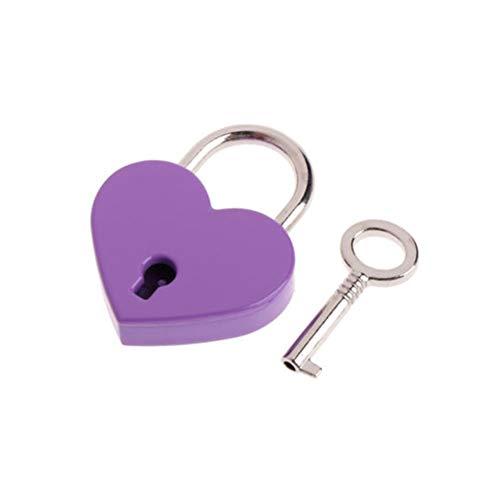 JYSLI Install Mini Heart Shape Suitcase Luggage Case Locker Padlock Key Security Home Appliance Luggage Locks Travel Accessories design (Color : Purple)