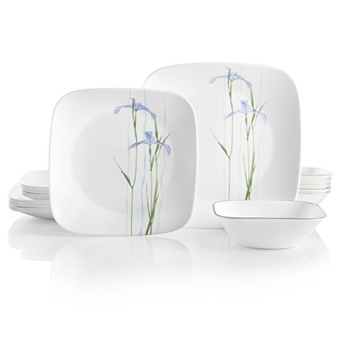 Corelle Service for 6, Chip Resistant, Shadow Iris Dinnerware Set, 18-Piece