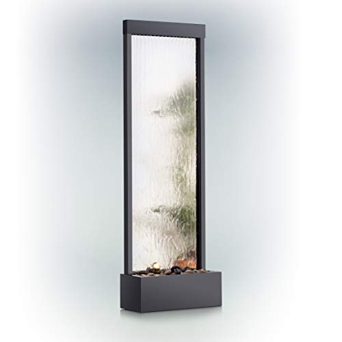 Alpine Corporation Mirror Waterfall Fountain with Stones and Lights - Zen Indoor/Outdoor Decor for Office, Living Room, Patio, Entryway - 72 Inches