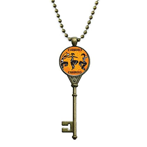 DIYthinker Dance People Mexico Totems Mexican Flute Key Necklace Pendant Tray Embellished Chain