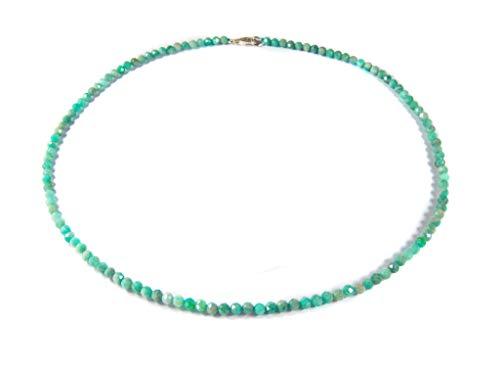 Sunglory-Edelstein Kette Collana da Donna in amazzonite a Forma sferica sfaccettata, Ø 4 mm, Chiusura in Argento 925