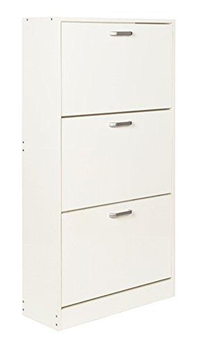 ts-ideen Scarpiera Salvaspazio 121 x 64 cm cm in Bianco Stile Moderno con Tre Scomparti ad Anta Basculante