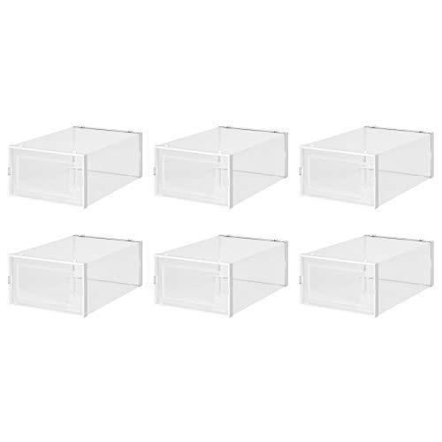 OVBBESS Caja de almacenamiento de zapatos transparente, de plástico, plegable y apilable, juego de 6 unidades, para almacenamiento y exhibición de zapatos de hombre y mujer, color blanco