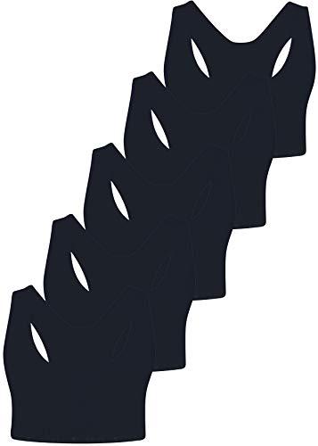 PiriModa Top Interior para niña - Sujetador Deportivo Infantil - Algodón- Modelo 1 - Pack de 5-10-11 años - Negro