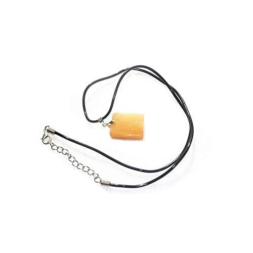 LULIJP Natürliche gelbe Quarz Topas Stein Anhänger Quadratische Form Kristall Anhänger Halskette Valentinsgrußgeschenk