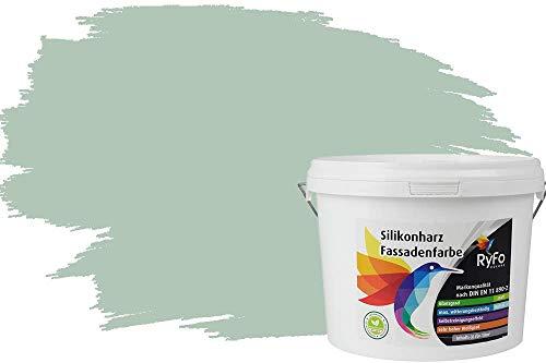 RyFo Colors Silikonharz Fassadenfarbe Lotuseffekt Trend Lorbeergrün 3l - bunte Fassadenfarbe, weitere Grün Farbtöne und Größen erhältlich, Deckkraft Klasse 1