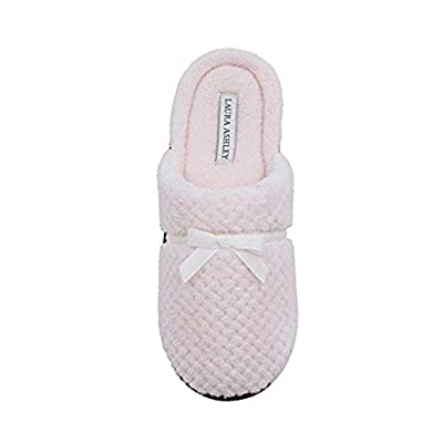 Laura Ashley Ladies Textured Plush Terry Open Back Slipper with Rugged Outsole & Memory Foam Insole (See More Colors and Sizes)