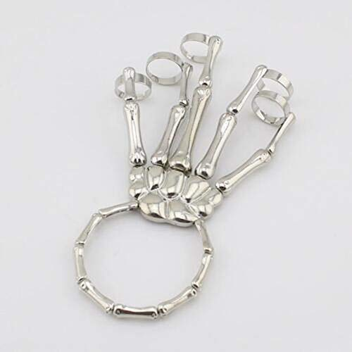 WINFCOY Moda Halloween Metal Skeleton Brecelet, Punk Rock Gothic Skull Skeleton Bone Hand Finger Ring Brazalete, para Halloween Cosplay (Plata)