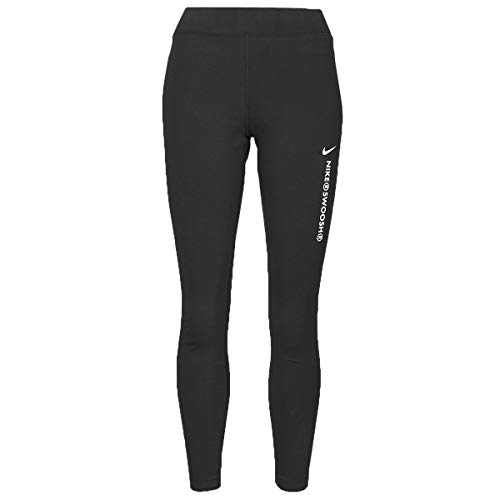Nike Sportswear Swoosh Pantaloni Sportivi, Schwarz-Weiss, L Donna
