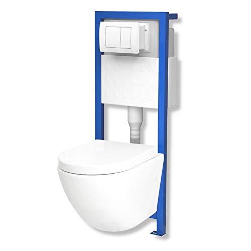 Domino Lavita Vorwandelement inkl. Drückerplatte + Wand-WC Sofi ohne Spülrand + WC-Sitz mit Soft-Close Absenkautomatik Drückerplatte QW (weiß)