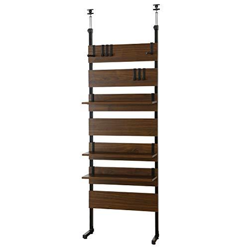 DORIS 突っ張り パーテーション つっぱり 間仕切り おしゃれ 幅60 奥行25.5 高さ201-258 金属製フック6個付属 壁面収納 組立 ブラウン カロン 60cm