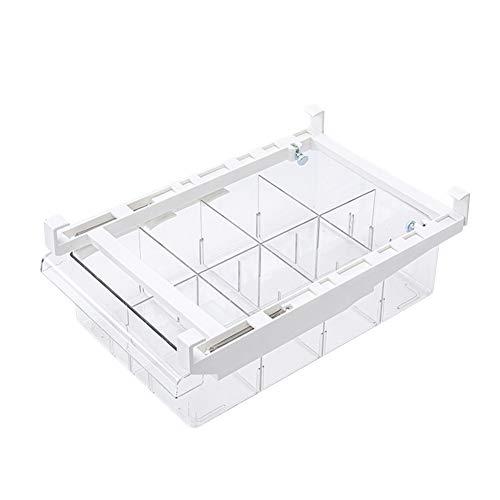 Cajón organizador transparente para frigorífico de PET, cajón extraíble para almacenamiento de frigorífico transparente, organizador de frigorífico con extraíble para congelador Pantry (8 rejillas)