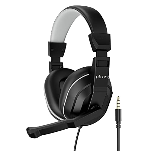 pTron Studio Lite Stereo Sound Wired Headphones, Ergonomic Over Ear Headset with Mic, Adjustable Mic & Integrated Volume Control, 3.5mm Aux Jack & 1.3 Meter Tangle-Free Cord (Black/Grey)