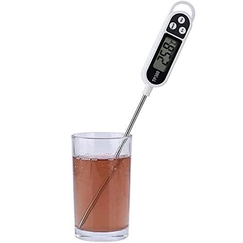 PDXGZ Termómetro Digital de Cocina, con sonda Larga y Pantalla LCD, Botón de Interruptor ° C / ° F, para Comida, Carne, Aceite, Leche, Vino, Barbacoa y Agua Caliente