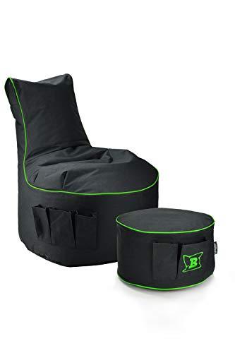Maverick Gaming Set Sitzsack mit Sitzhocker/Fußbank Schwarz mit Keder Farben wählbar Beanbag mit Seitentaschen & Reißverschluss zum nachfüllen Playstation PS4 XBOX360 XboxOne Nintendo (Neongrün)