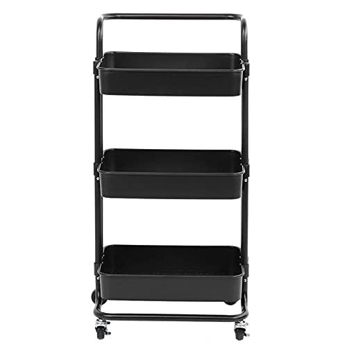 Anti-corrosie ABS stalen buis multifunctionele opbergtrolley keuken organisator voor badkamer(zwart)
