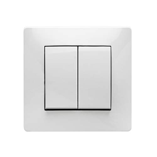 Famatel 6516505059 Doble Interruptor 10A 250V Blanco 9303, Multicolor