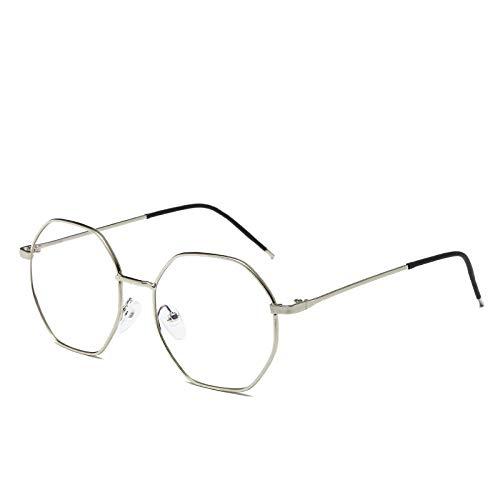 Zonnebril voor dames en heren, anti-straling, anti-blauw, anti-vermoeidheidsdecoratie, platte spiegel voor laptop Zilver.