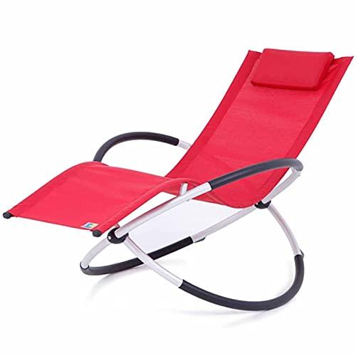 VERDELZ Jardín al aire libre relajarse mecedora todo clima silla plegable salón W/almohada extraíble tumbonas anti-oxidación sillones para patio camping