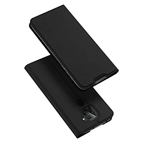 DUX DUCIS Hülle für Redmi Note 9, Leder Flip Handyhülle Schutzhülle Tasche Hülle mit [Kartenfach] [Standfunktion] [Magnetverschluss] für Xiaomi Redmi Note 9, Schwarz