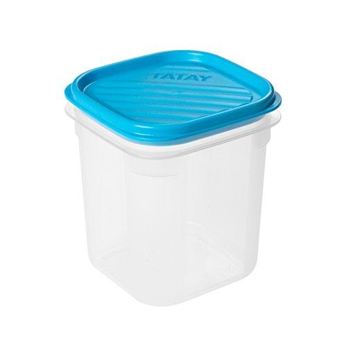 TATAY 1160300 - Contenedor de alimentos hermético cuadrado con tapa flexible a presión, Plástico transparente con tapa azul, libre de BpA, 0,7 litros de capacidad, 10 x 10x x 11,7